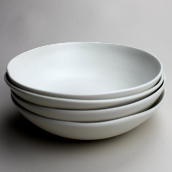 Image of set of four pasta bowls, eggshell