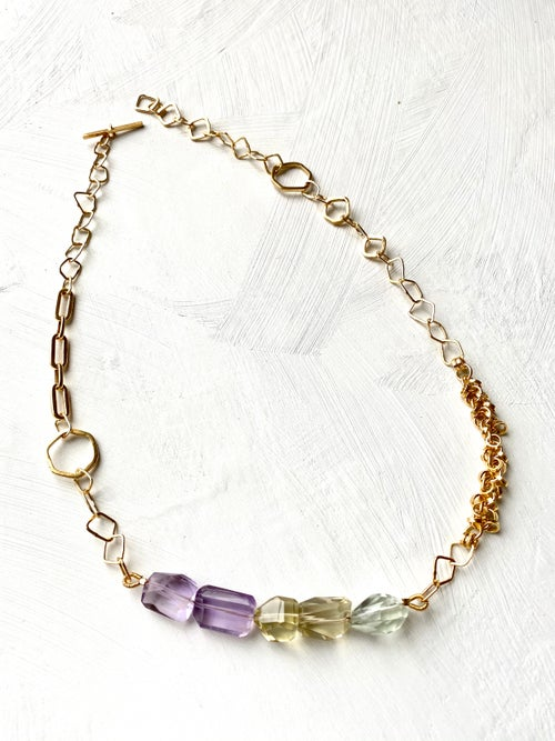 Image of Indian summer necklace series 1- Amethyst/Citrine