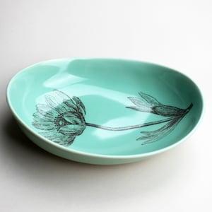 Image of beachstone serving bowl, aqua with cosmos