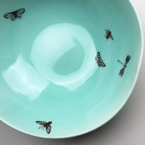 Image of serving bowl with butterflies, aqua