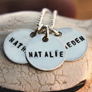 Image of Sterling Silver Necklace -- Three Teeny Tags
