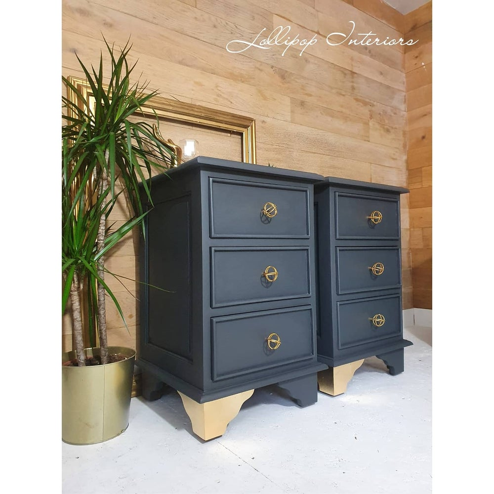 Image of Grey and gold bedside tables