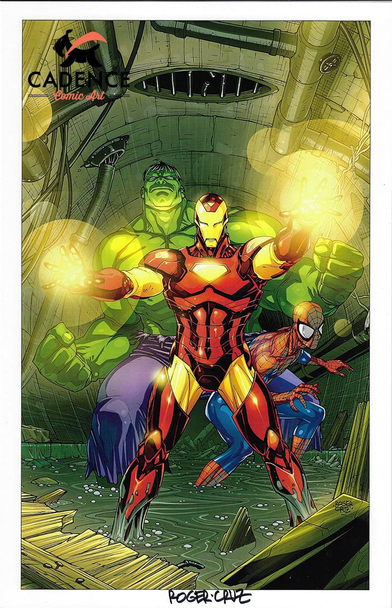 Image of Hulk, Spider-Man & Iron Man Print (Signed) by Roger Cruz