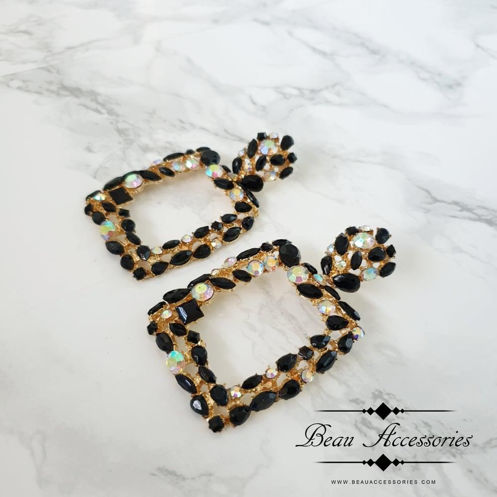 Image of Black Crystal Textured Earrings