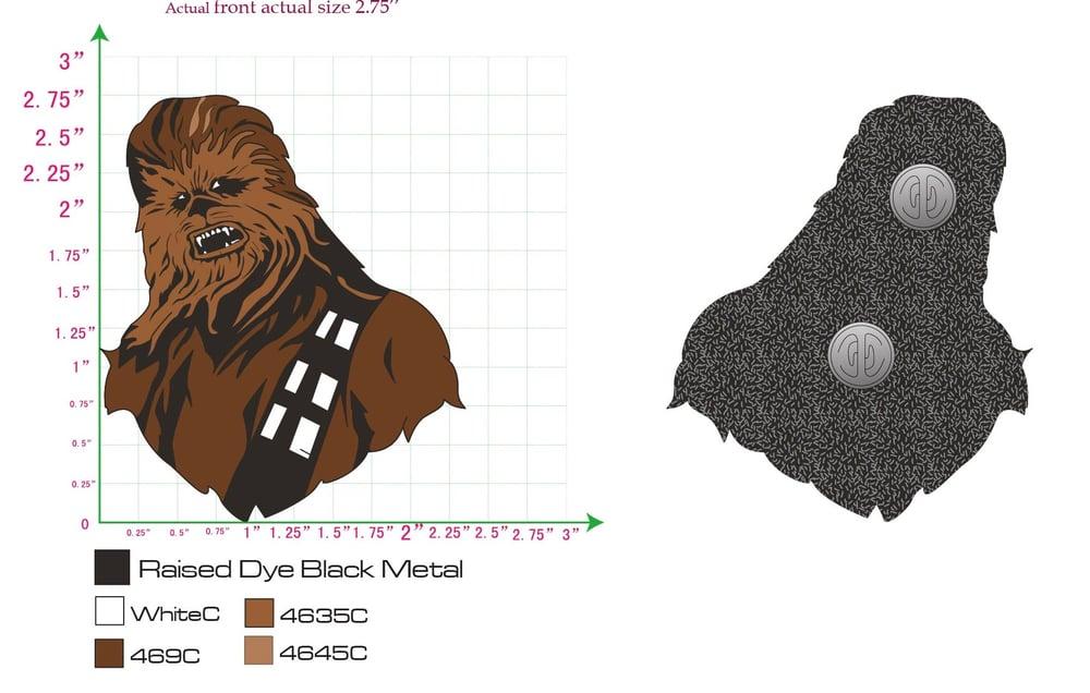 "Image of Chewbacca 2.75"" lapel pin"