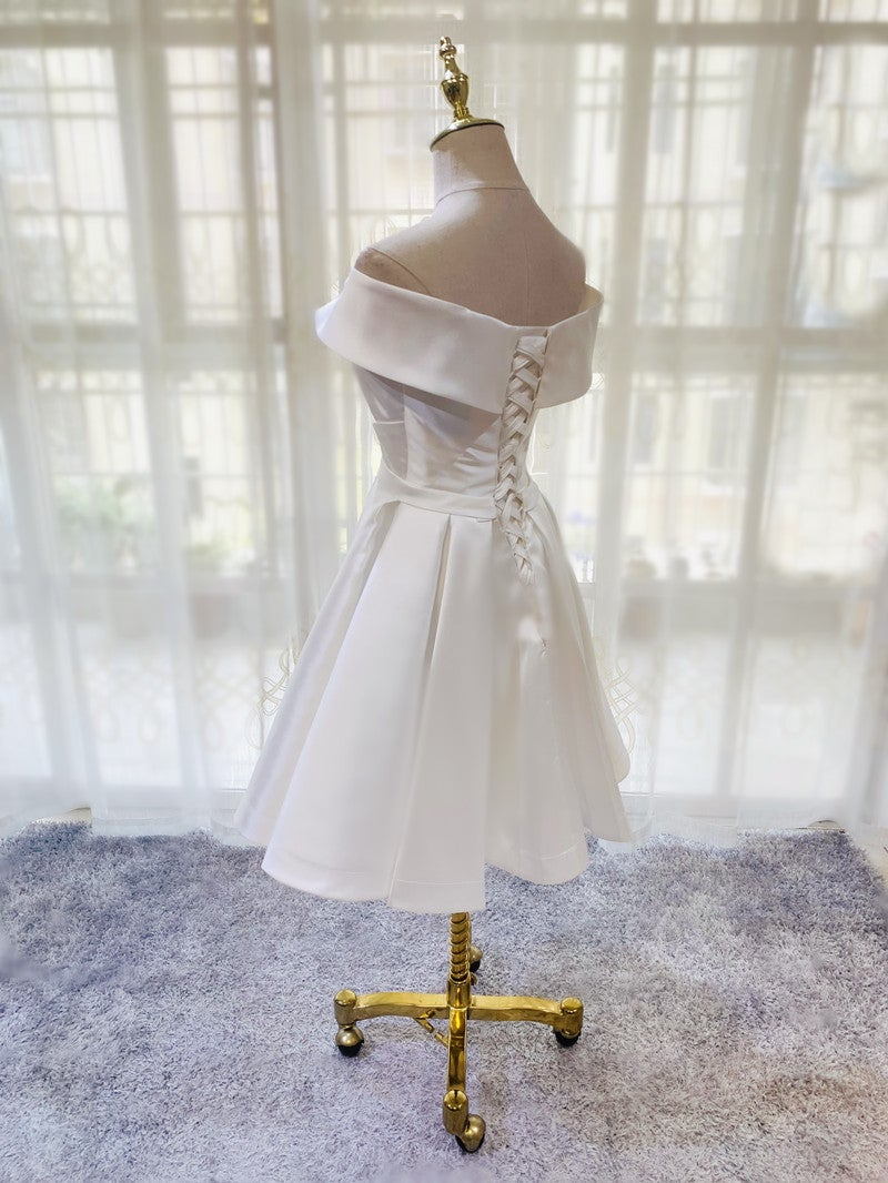 Beautiful White Satin Short Prom Dress, White Graduation Dress