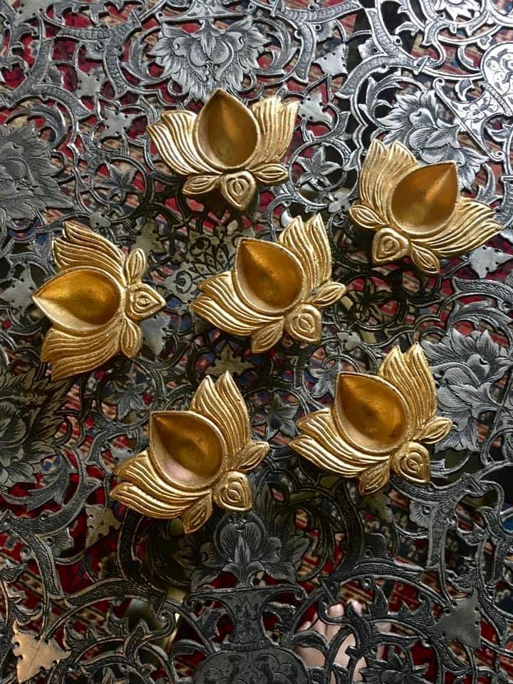 Image of Pair of mini Lotus Diya