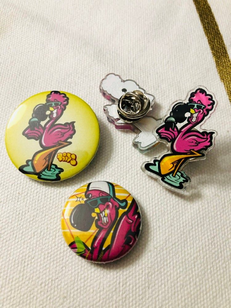 Image of Flamingo Acrylic Pin + Button Pack