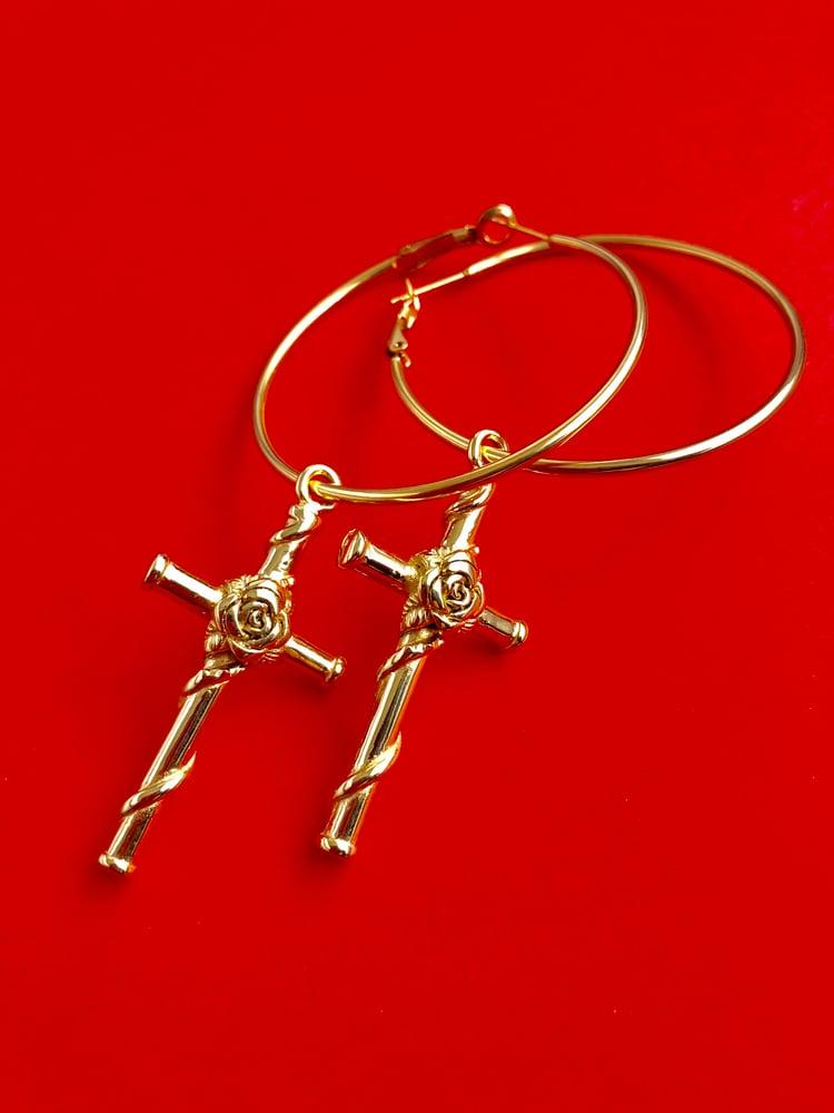 Image of CROSS & ROSES GOLD HOOP EARRINGS