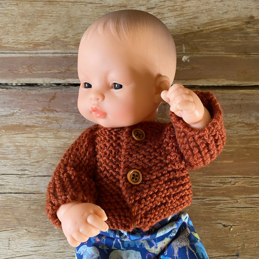Image of Knitted cardigan/jumper to suit 32cm Miniland doll - Rust