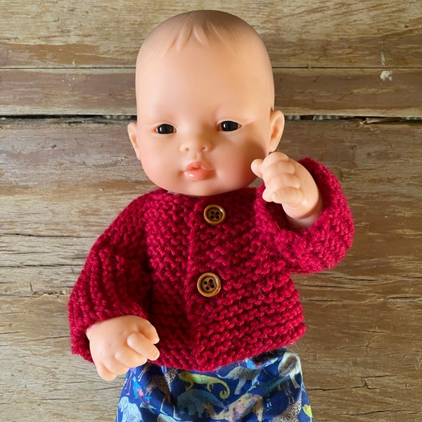 Image of Knitted cardigan/jumper to suit 32cm Miniland Doll - Red