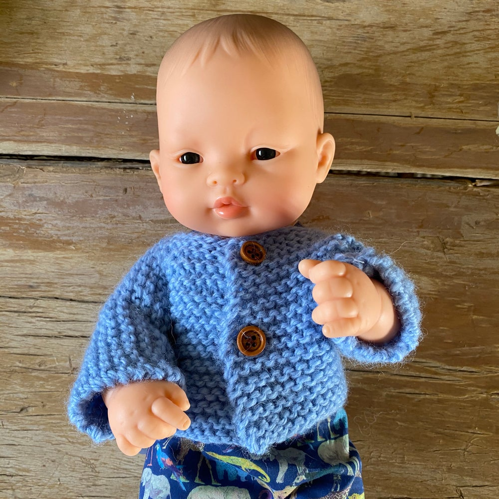 Image of Knitted cardigan/jumper to suit 32cm Miniland doll - light blue