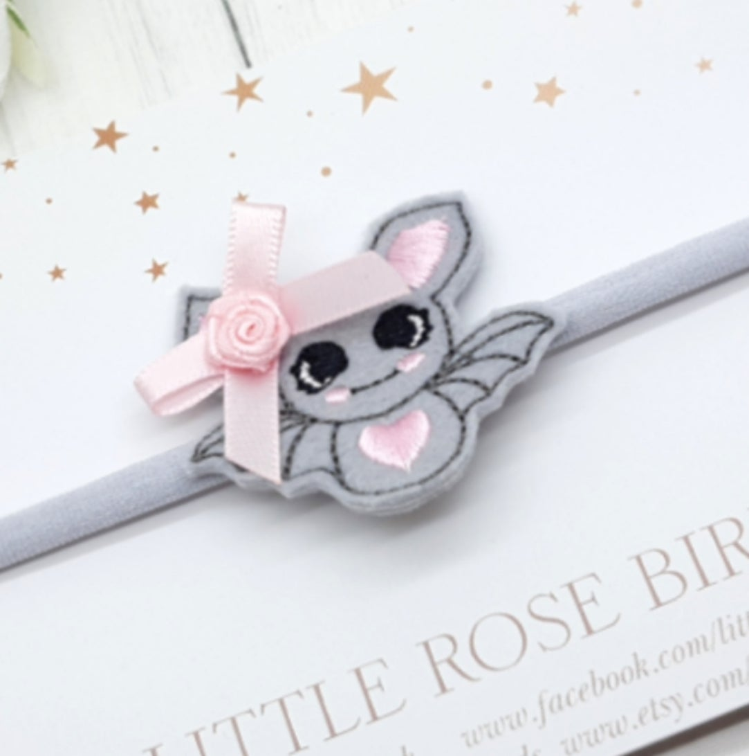 Image of Cute Bat Bow - Choice of Headband or Clip