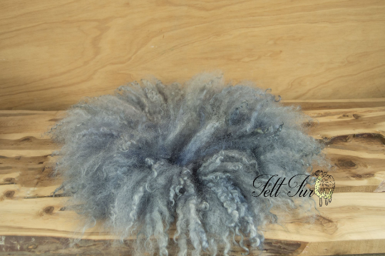 Image of Stormy Blue  Fluffy Fringe Felted Napkin (D63), Newborn Photography Wool Prop. Size D. Ready to Ship