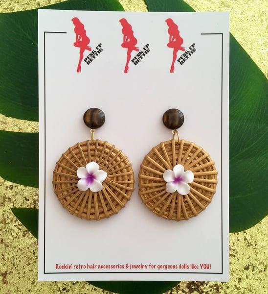 Image of Fiji Sunrise Paradise Earrings - Purple /Gold