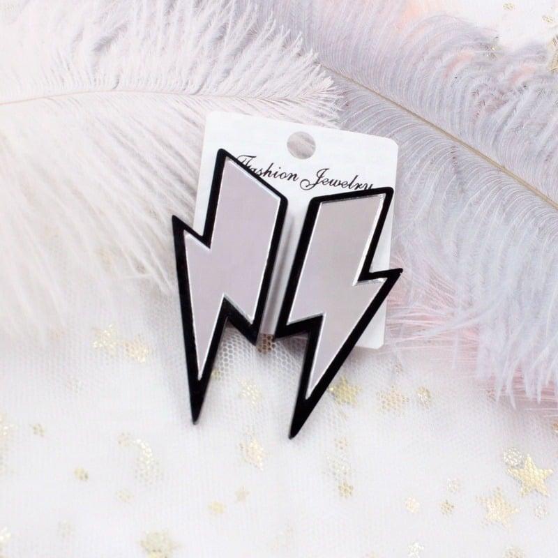 Acrylic Mirror Lightning Bolt Earrings