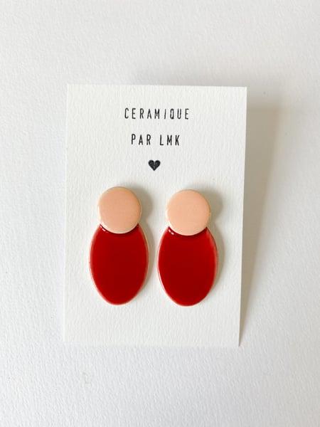 Image of Paire de boucles d'oreilles céramique COLLA pêche  et rouge
