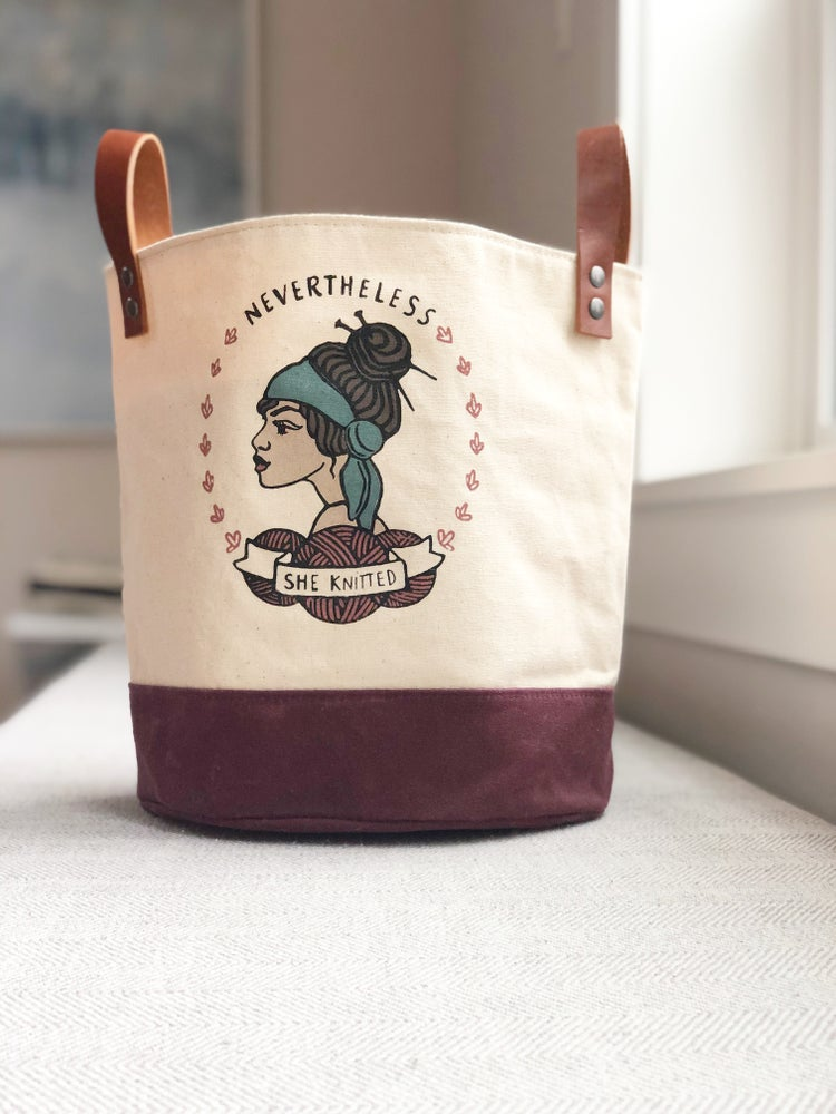 Image of Nevertheless She Knitted Bucket Bag