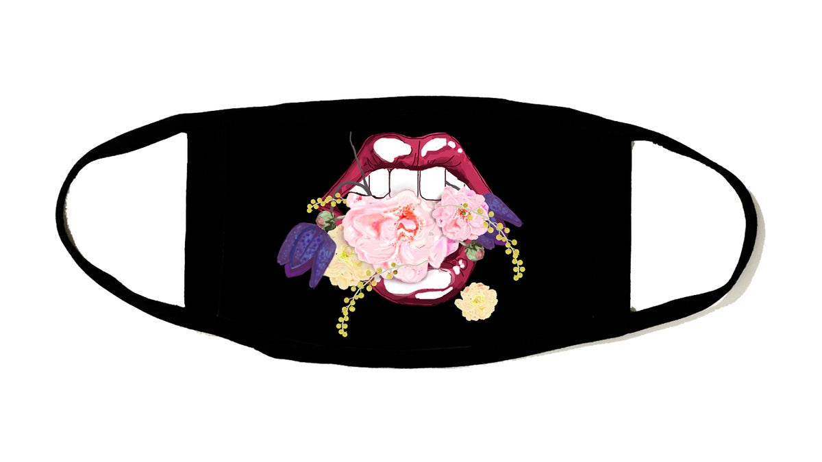 Image of Mouth in Flowers Mask