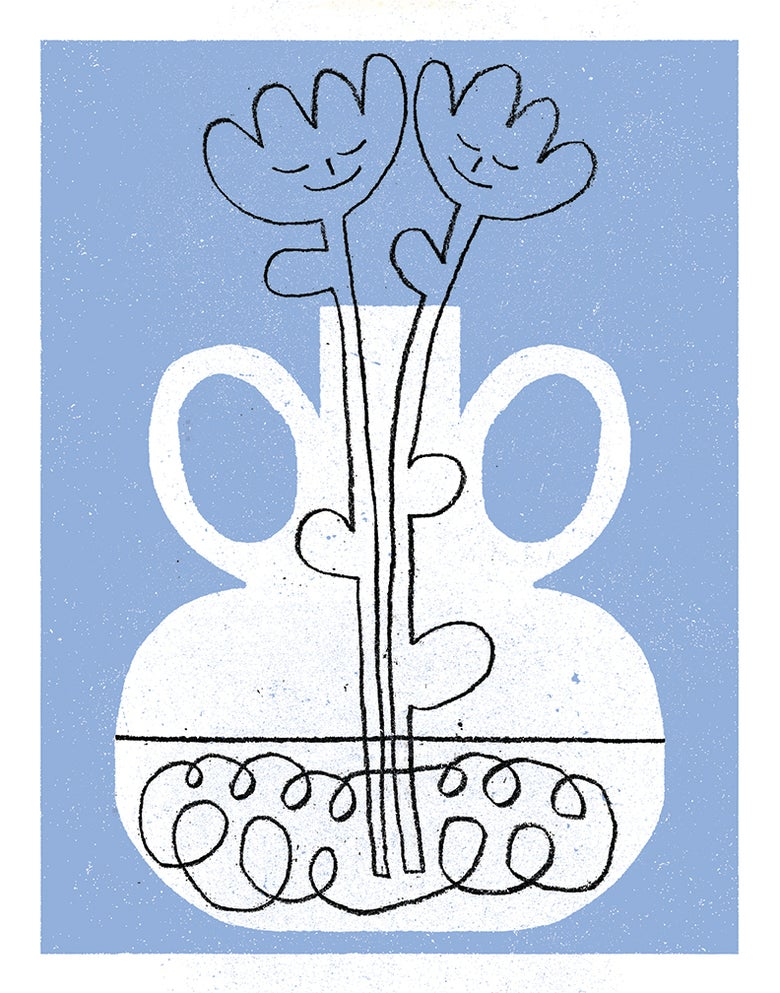 Image of You and I, two hand picked flowers in a vase (Tulips)