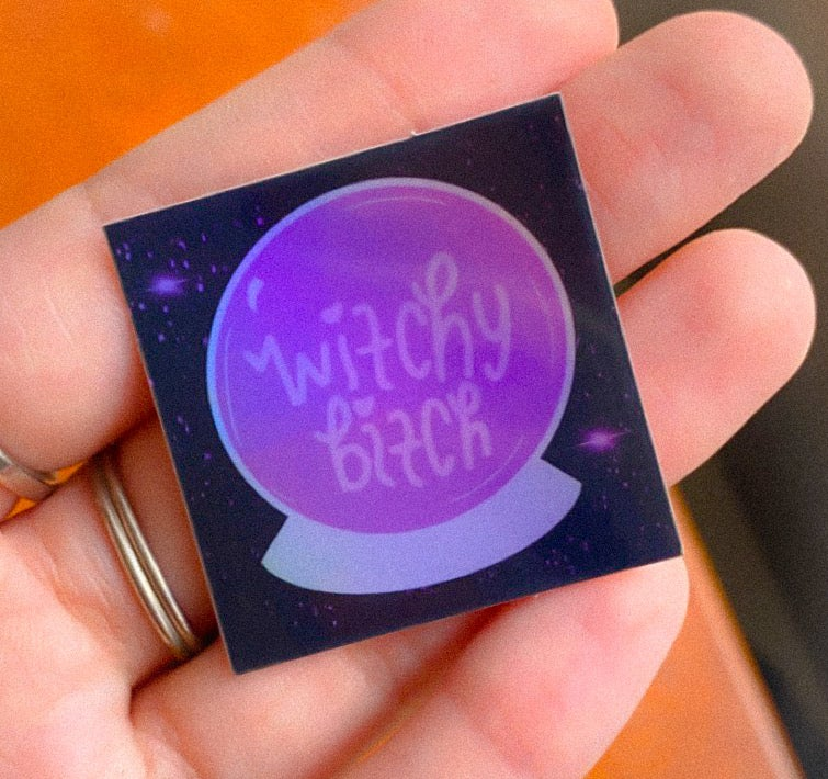 Image of witchy bitch holographic stickers
