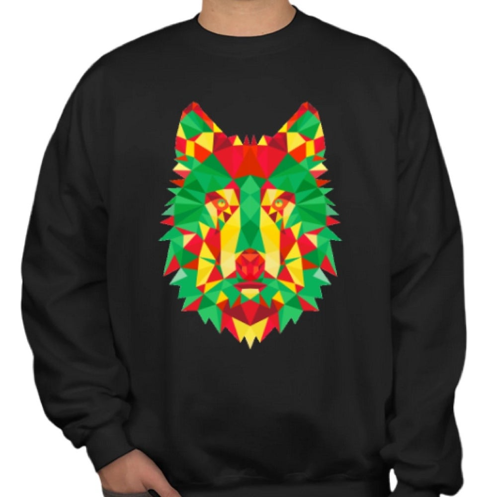 Rasta colourway wolf geometric sweatshirt