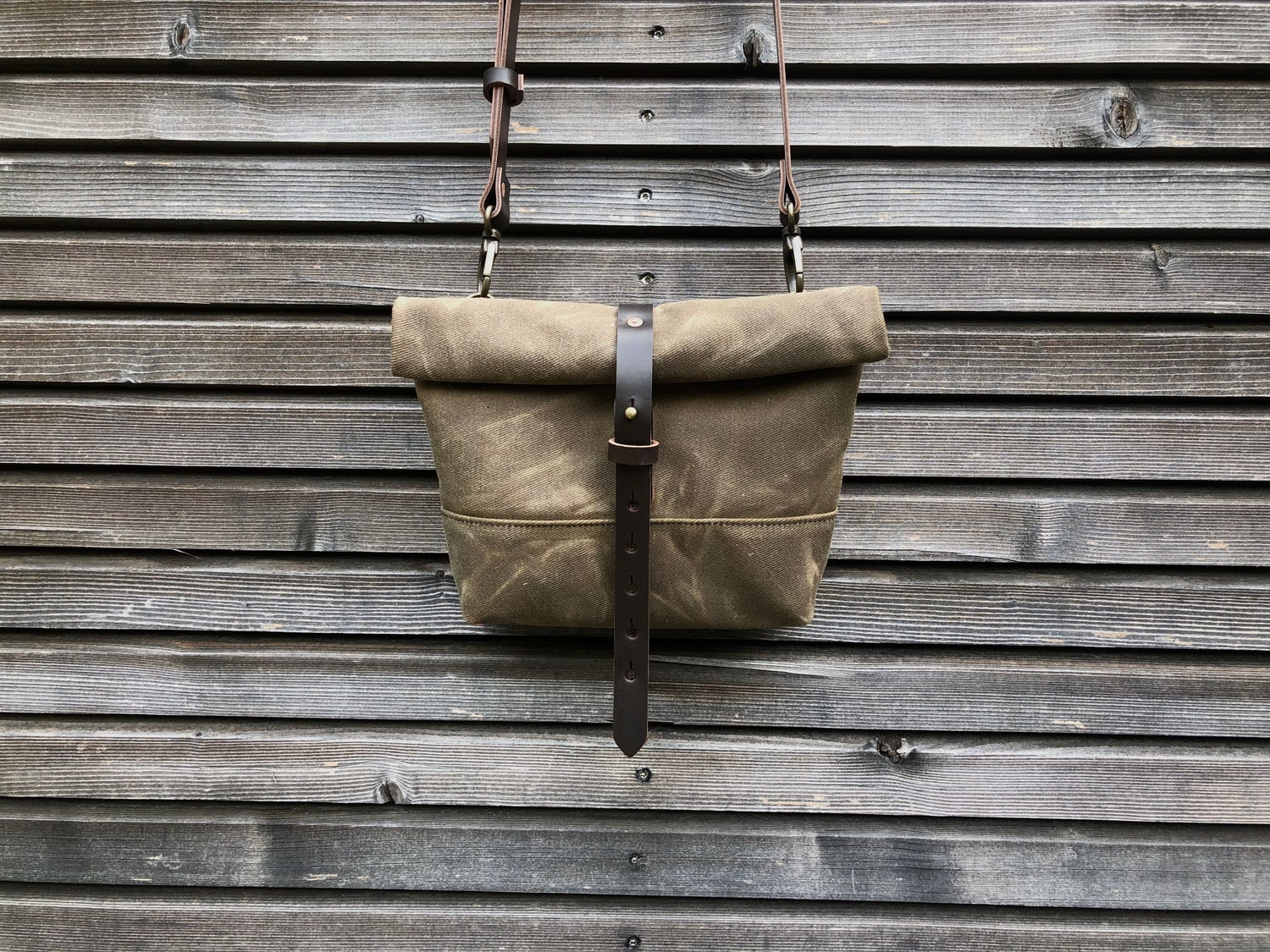 Image of Waxed canvas satchel with back pocket