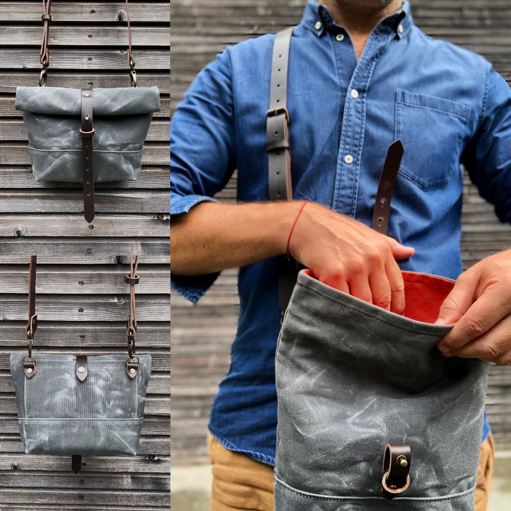 Image of Waxed canvas day bag in grey with back pocket