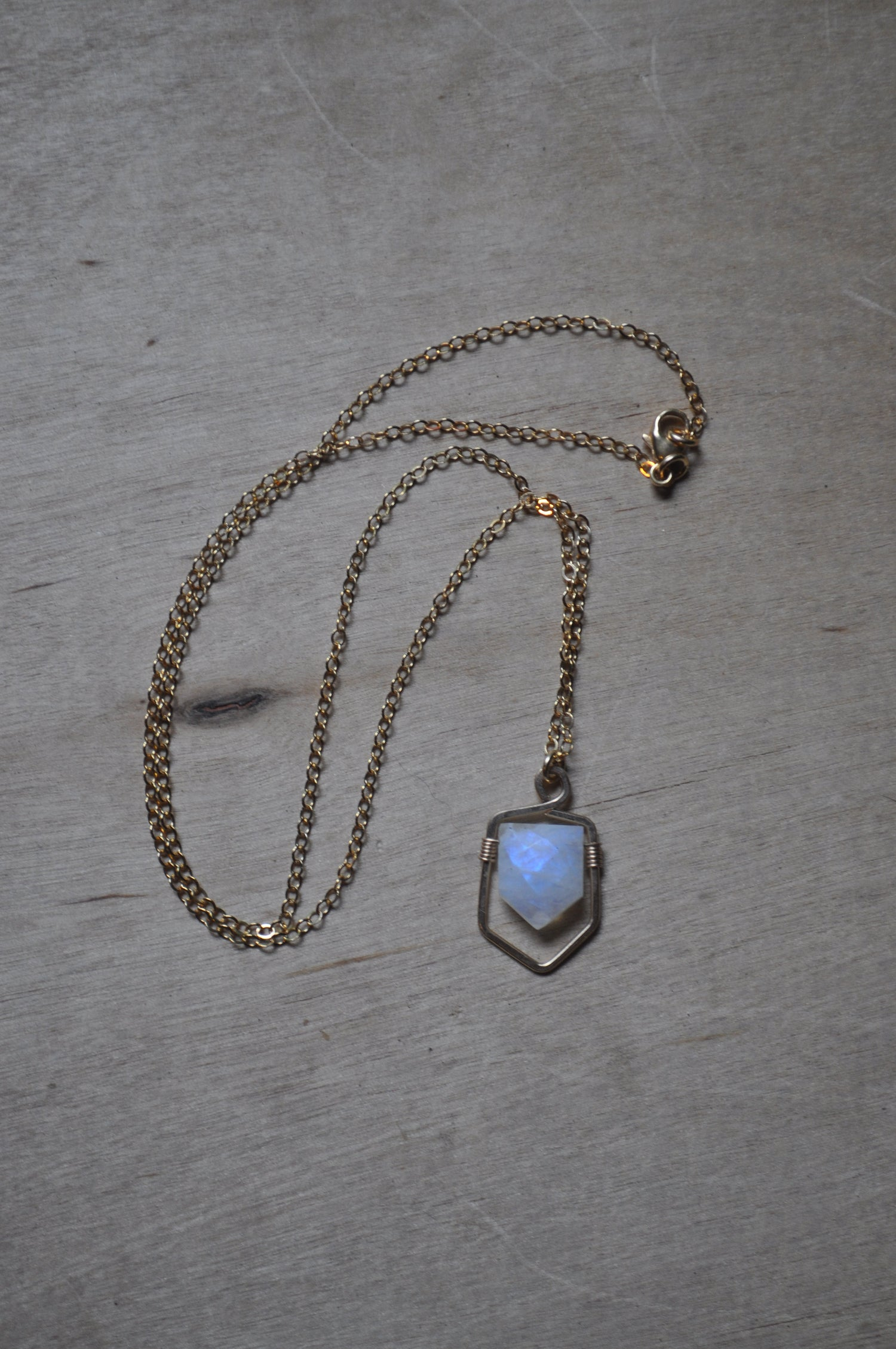 Image of Rainbow Moonstone Shield Necklace in Gold Fill