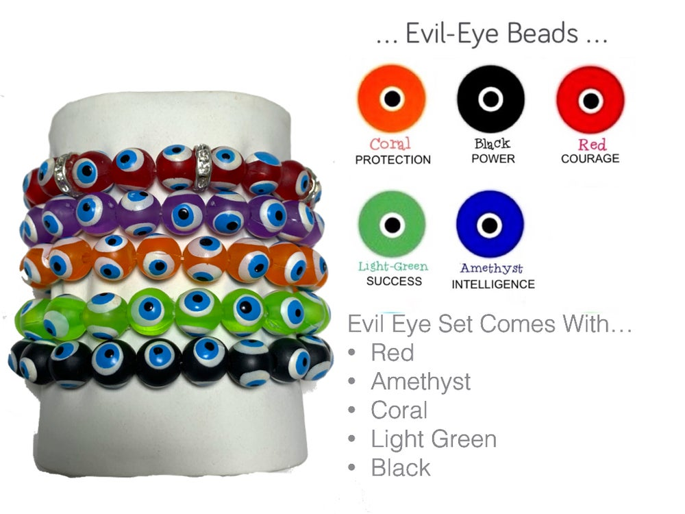 Evil Eye Bead Bracelet Set