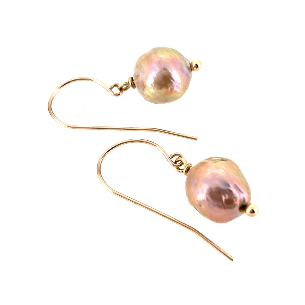 Image of 14k gold baroque pearl earrings