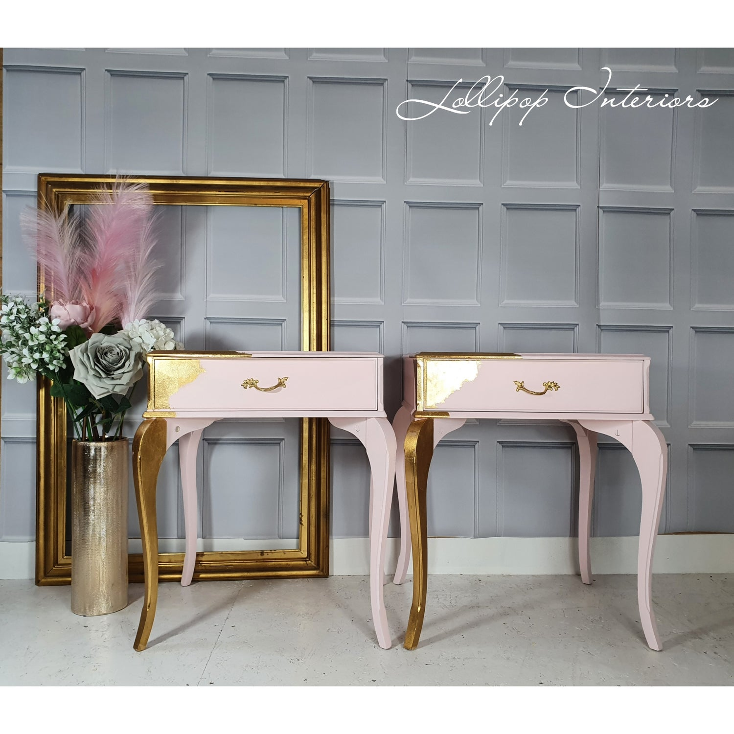 Image of Pink and gold bedside tables
