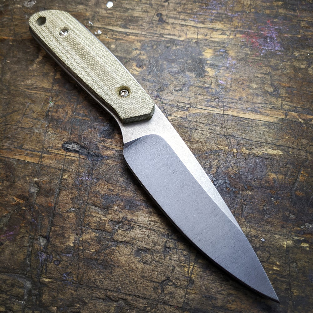 Image of Apex Backpacker - Nitro-V Steel and Green Canvas Micarta