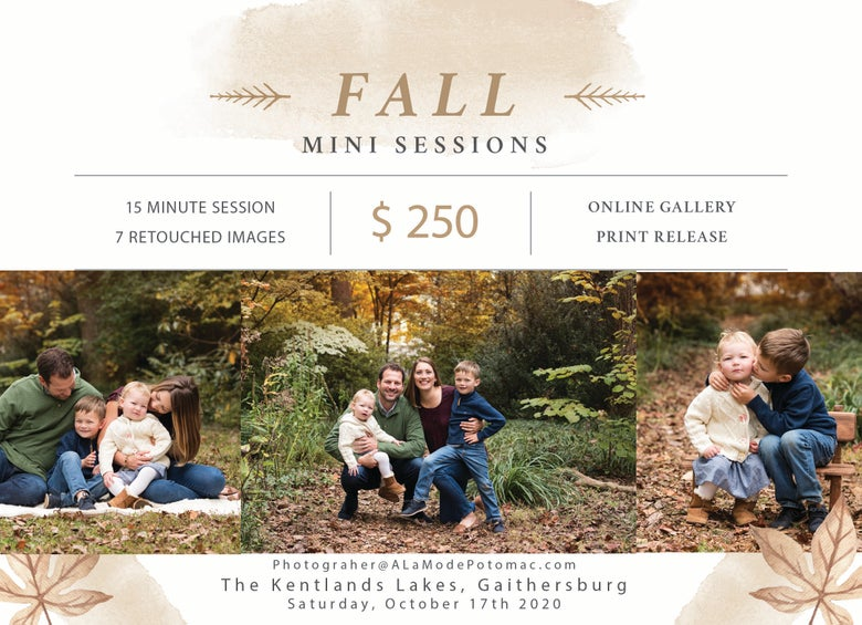 Image of Fall Mini Sessions 2020 - Kentlands Lakes, Gaithersburg - October 17th