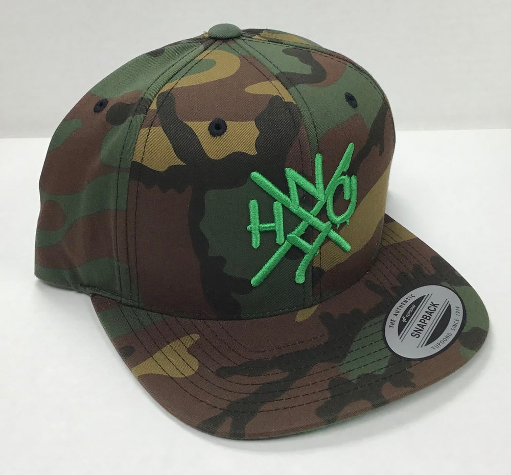 Image of The ORIGINAL NYHC New York Hardcore Snapback Hat CAMOUFLAGE & GREEN