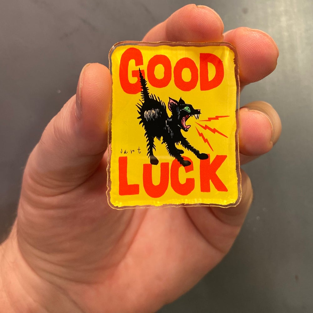 Image of VICTORY SALE-HALF OFF-EXTRA LARGE GOOD LUCK VINYL PIN- YELLOW- LIMITED RUN
