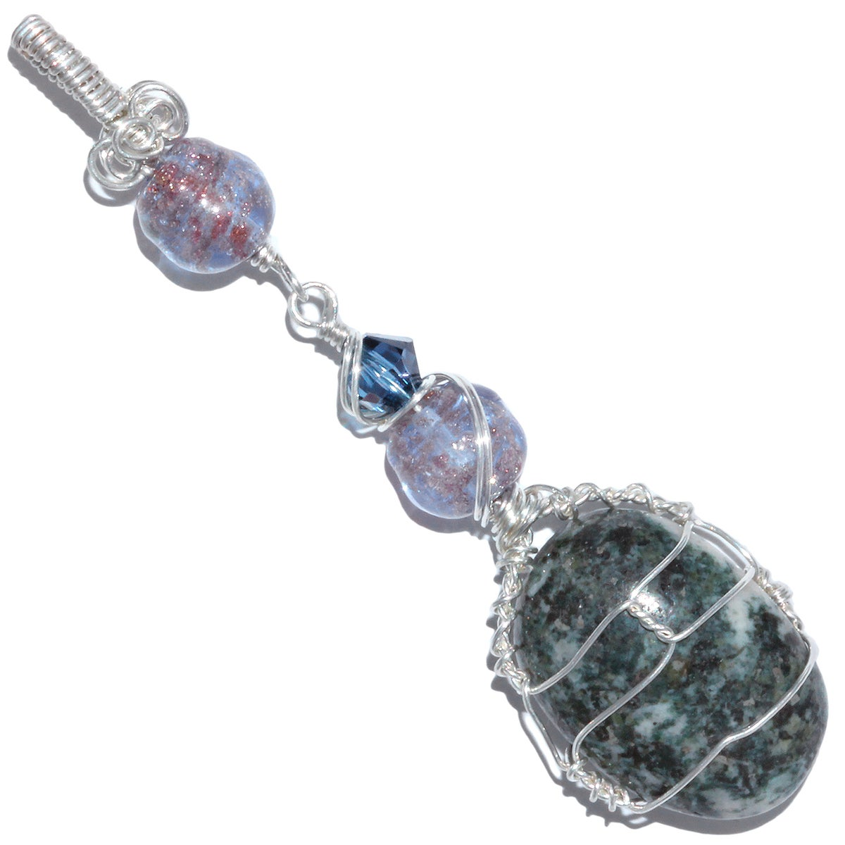 Stonehenge Preseli Bluestone Sterling Wire Wrapped Pendant