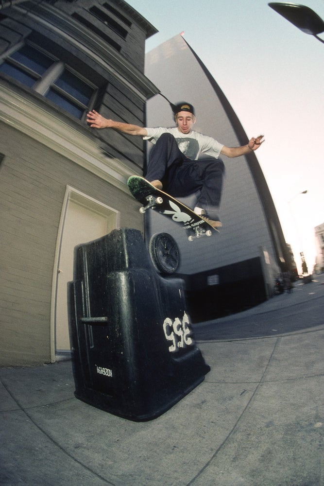 Mike Carroll, Ollie at Pine St bump,  1992 by Tobin Yelland