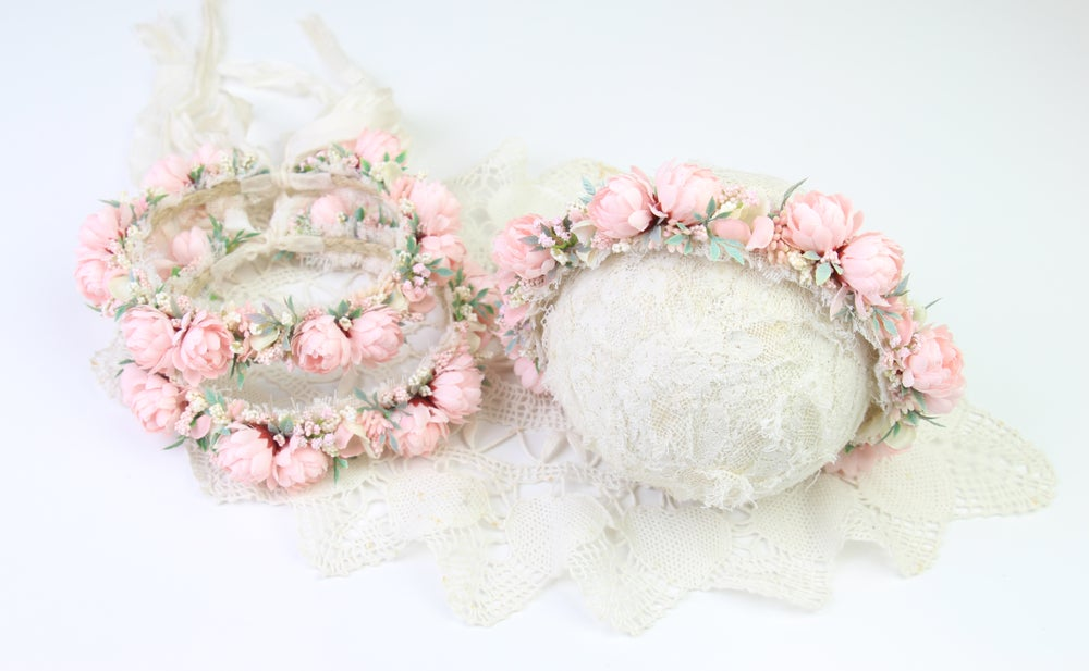 Image of Soft Pink Floral Halo/Silk Tieback