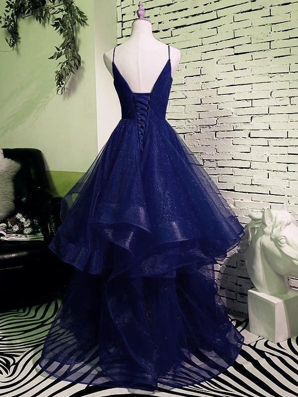 Beautiful Spaghetti Straps V-neck Princess Prom Dresses, Navy Blue Prom Dress
