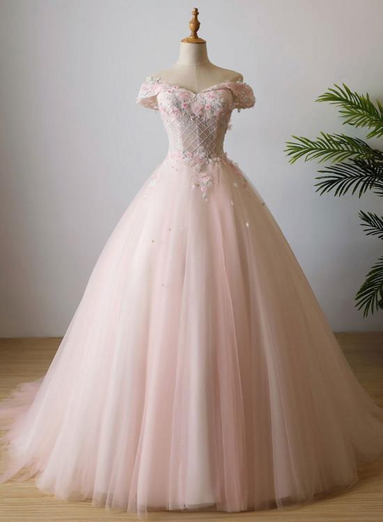 Cute Pink Tulle Flowers and Beaded Sweet 16 Dress, Pink Formal Dress