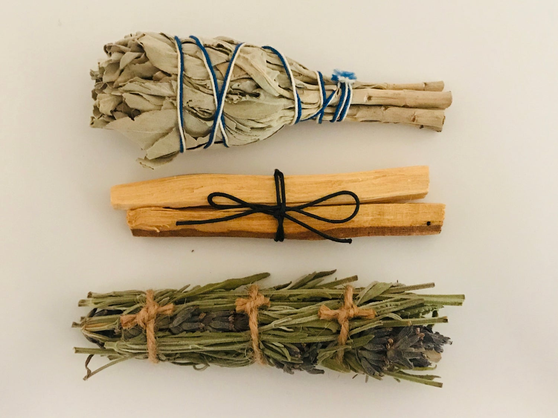 Trio Smudge Pack - White Sage, Lavender & Palo Santo