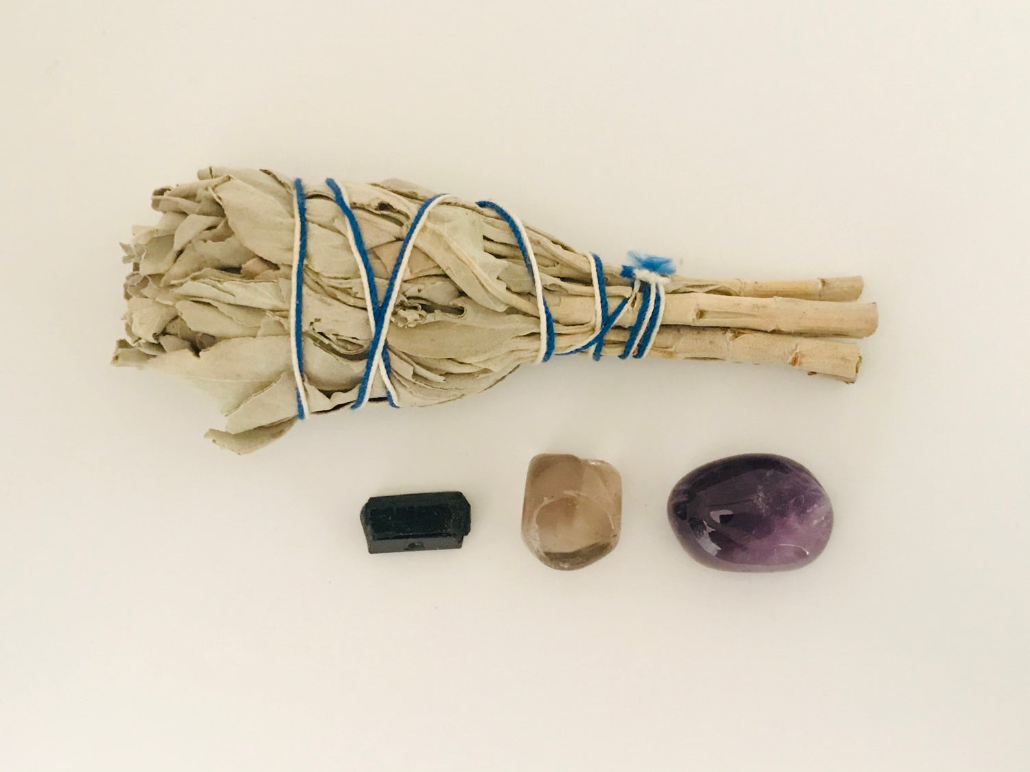 Crystal Smudge Pack - White Sage, Amethyst, Smoky Quartz & Black Tourmaline
