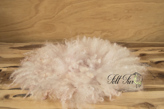 Image of Vintage Pink Curly Fur, Light Rose Gold Felted Rug (B159), Newborn Photography Wool Prop. Size B.RTS