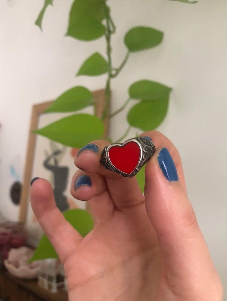 Image of HEART ENAMEL RING