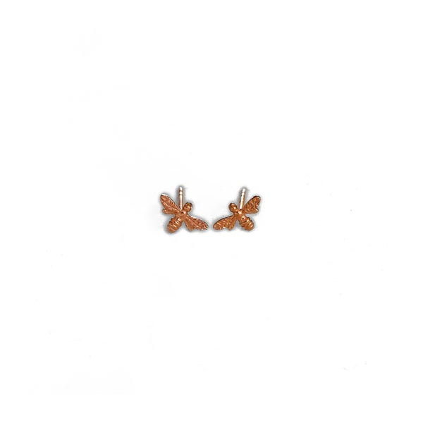 Image of Rose Gold Mini Bee Earrings
