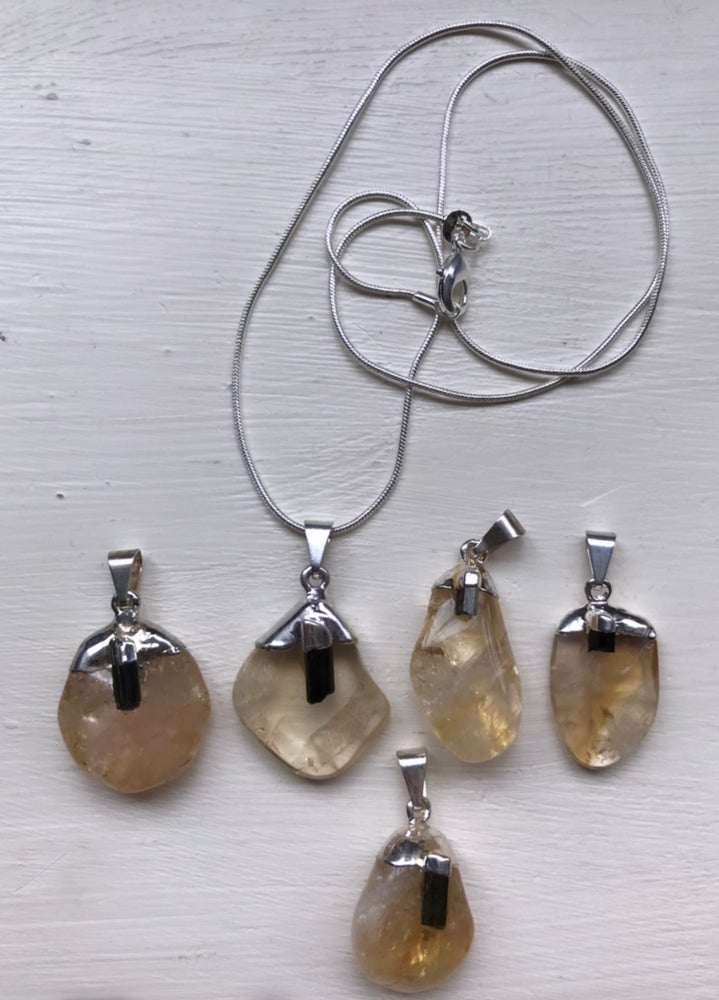Image of Citrine and Black Tourmaline Pendant