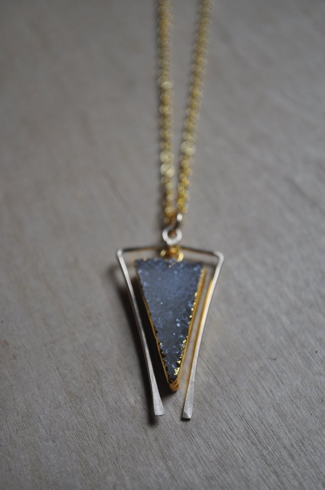 Image of Druzy Triangle Necklace