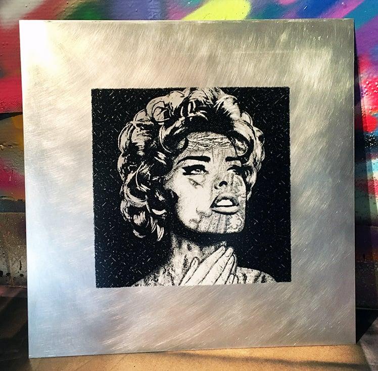 Image of LINDA EVANGELISTA - 1/1 TEST PROOF on 2mm ALUNINIUM SHEET