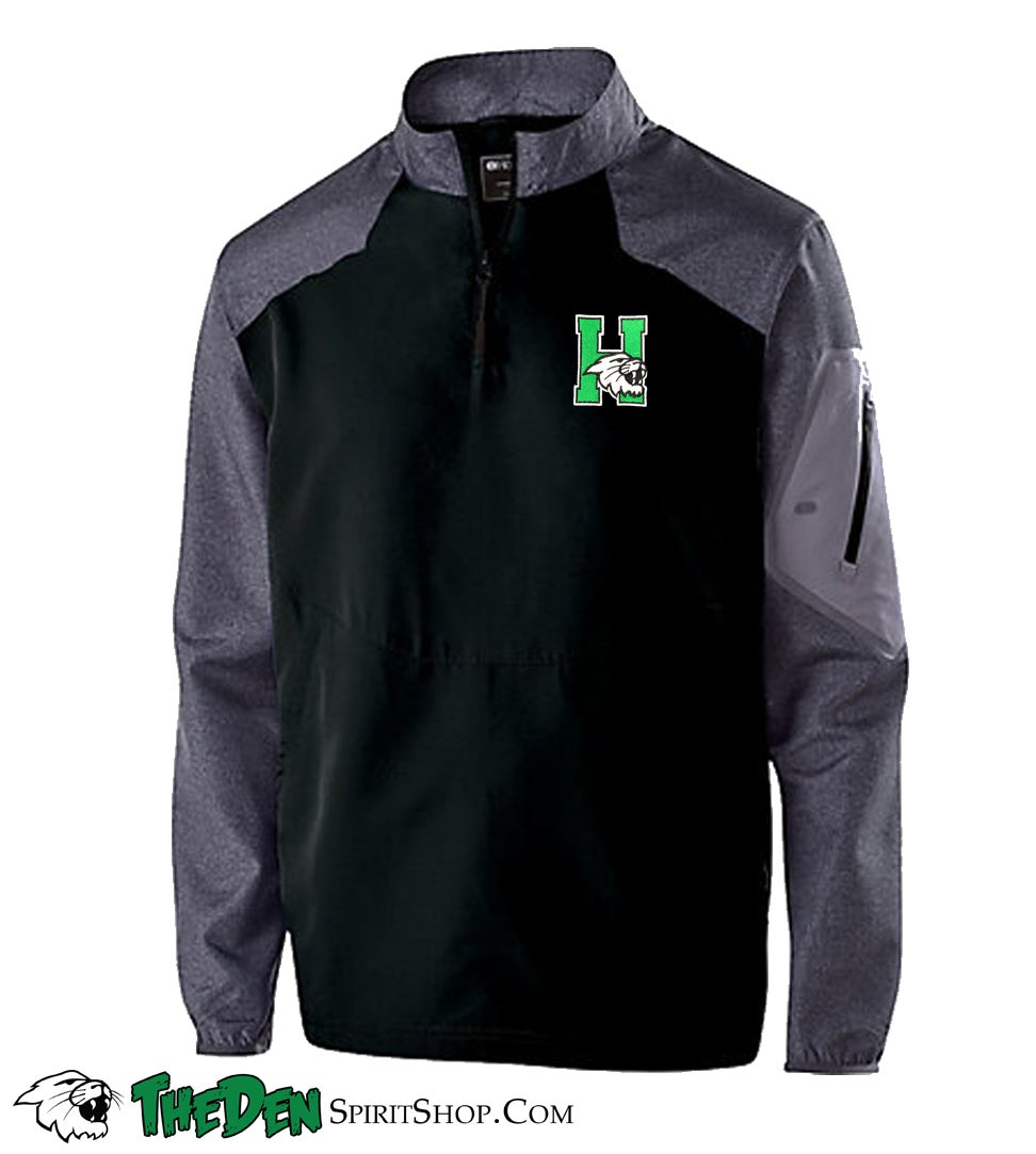 Image of Holloway Long Sleeve Sideline Jacket, Black/Grey